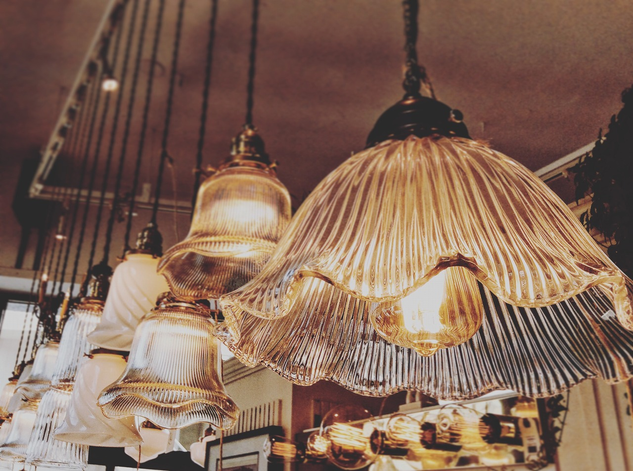 Small glass shade lamps.