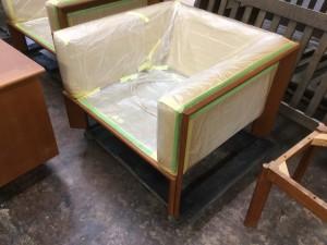 ジャクソン家具の塗装直し、、 1Pソファー