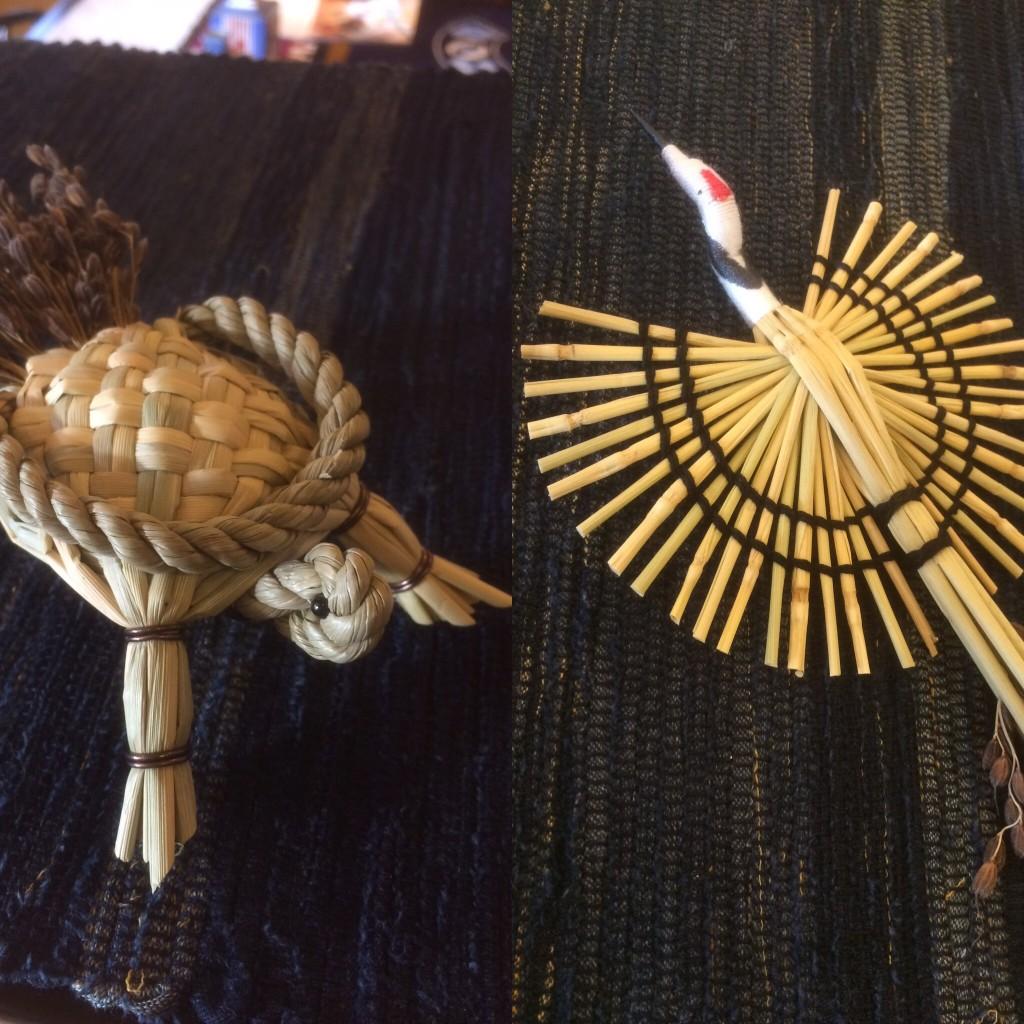 わら細工の鶴と亀