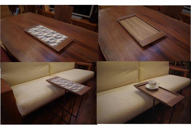 モザイクアート&ウォールナットトレーのコラボで サイドテーブルなど展開中