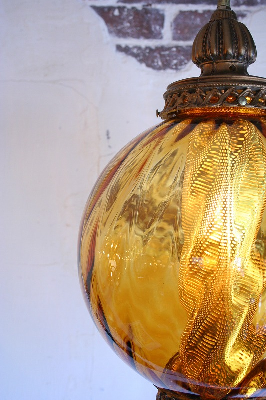 Amber glass pendant light.