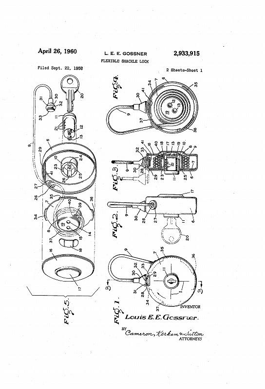 Vintage Flexible shackle lock.