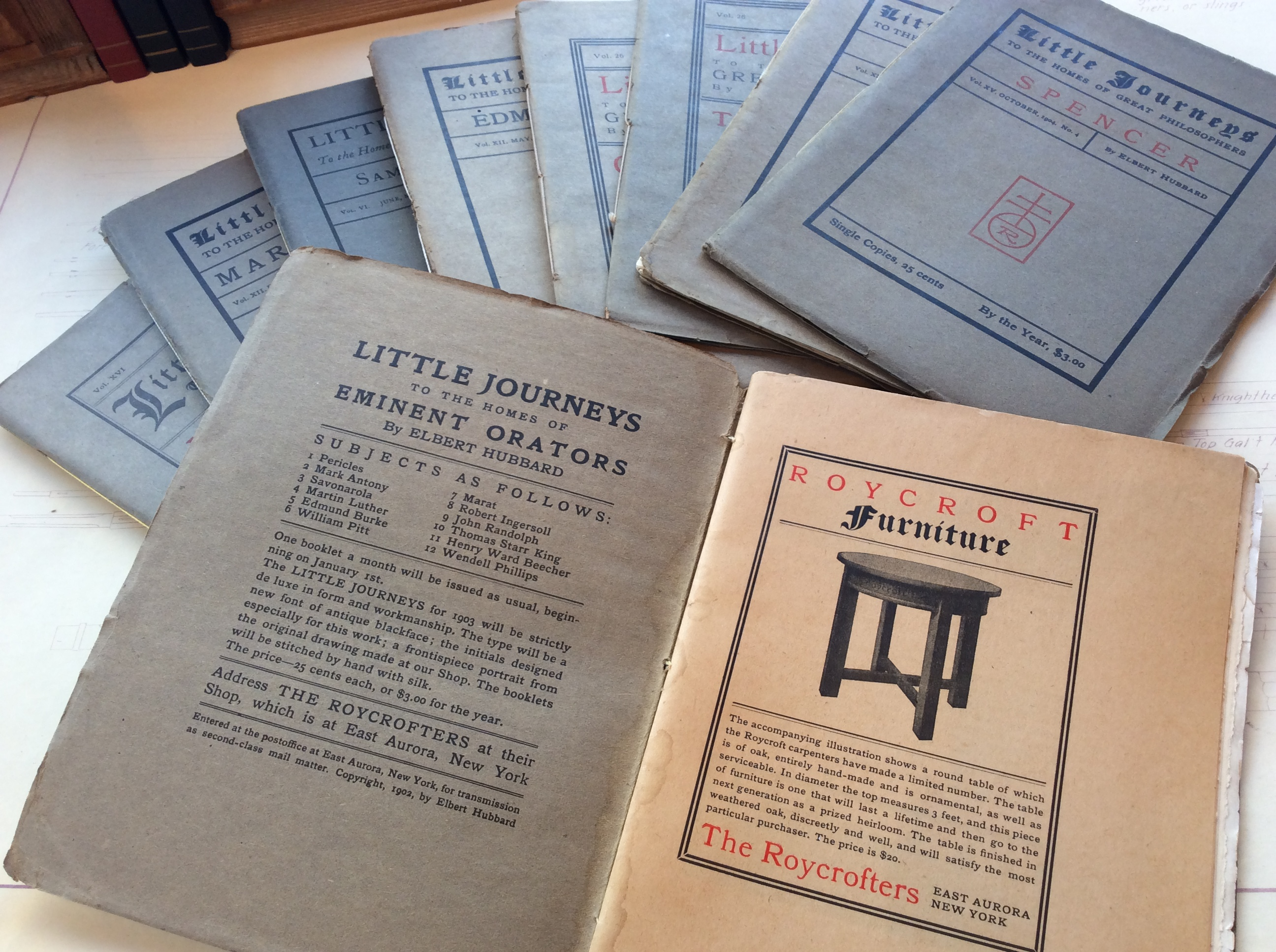 "Antique Paper Book ""Little Journeys ""."