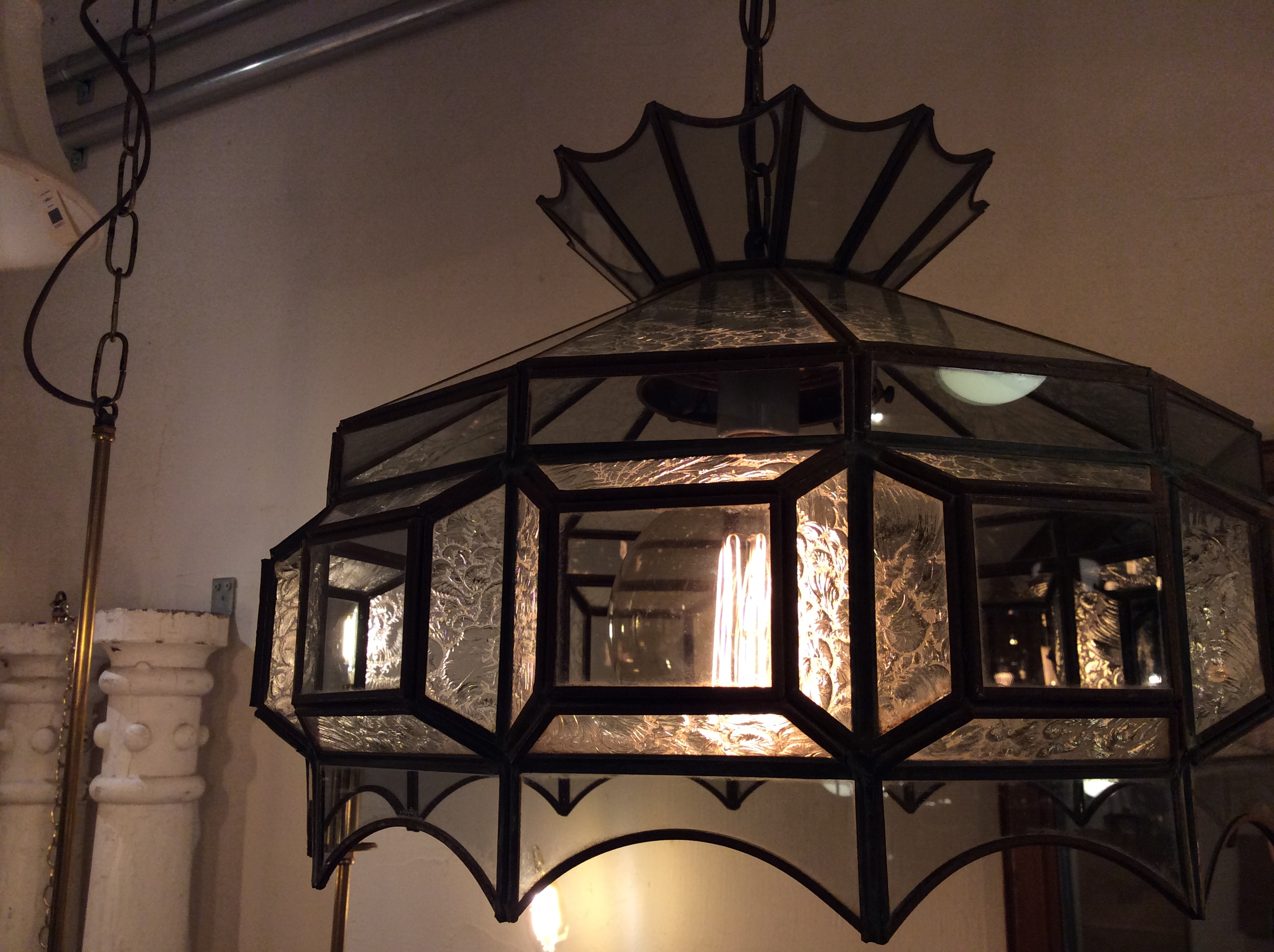Vintage glass shade lamp