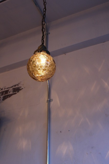 Vintage Amber Glass Lamp.