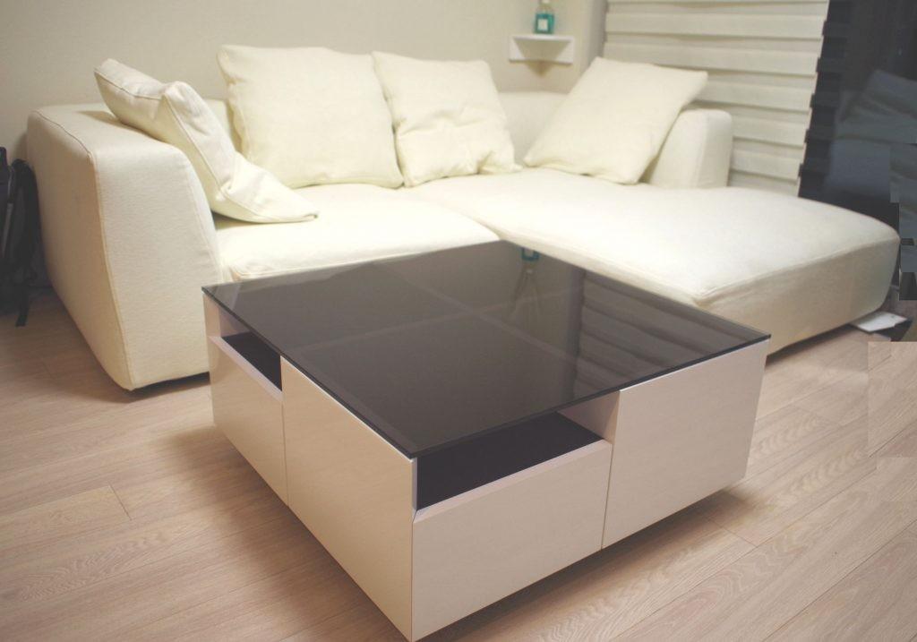 スクエア リビングテーブル ガラス天板&メラミン(白)